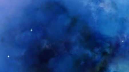 3D Nebula dark blue clouds far away in the deep space