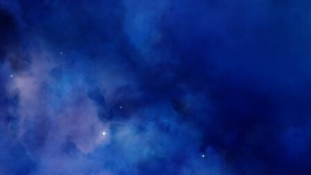 3D Nebula blue and purple clouds far away in the deep space