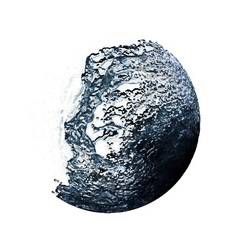Large Liquid Ball with a big blast from left on a White Background