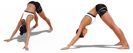 Left Profile and Front Three-quarters Poses of a Woman in Yoga Downward Facing Dog with a white background Stock Photo - 126666336