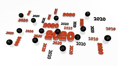 Several Squash ball 2020 Designs with Some Balls on a White Background