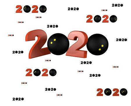 Many Squash ball 2020 Designs with many Balls on a White Background