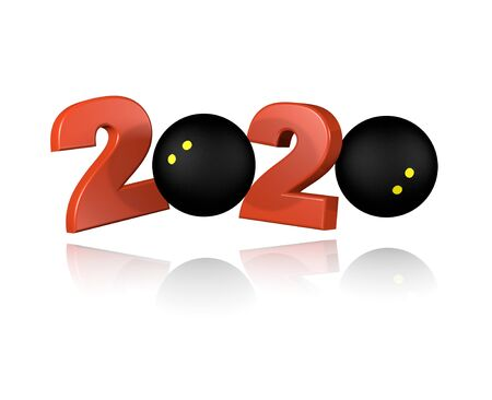 Squash ball 2020 Design with a White Background