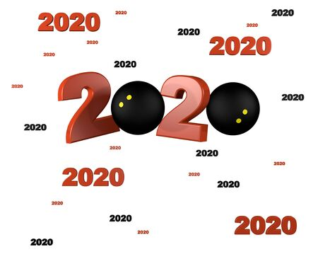 Many Squash ball 2020 Designs with a White Background
