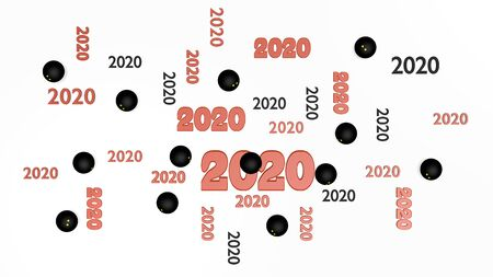Top View of Several Squash ball 2020 Designs with Some Balls on a White Background