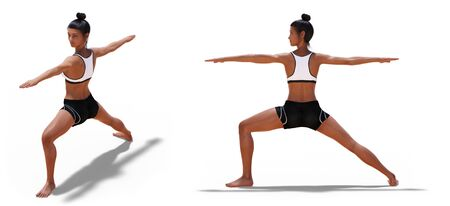 Front three-quarters and Left Profile Poses of a Woman in Yoga Warrior Two Pose with a white background