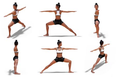 Woman in Yoga Warrior Two Pose with 6 angles of view on a white background