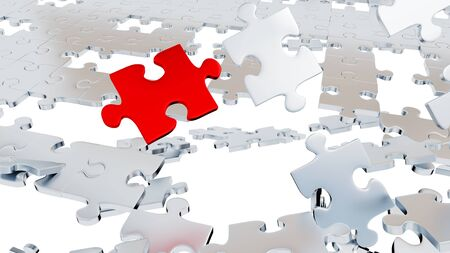 Lots of Grey Puzzle pieces with holes and one Large Red piece with a white background