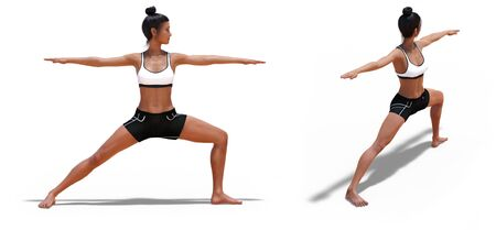 Back three-quarters and Right Profile Poses of a Woman in Yoga Warrior Two Pose with a white background