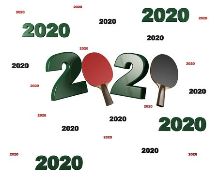 Many Table Tennis 2020 Designs with a White Background Фото со стока