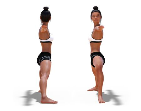 Back and Front Poses of a Woman in Yoga Warrior Two Pose with a white background