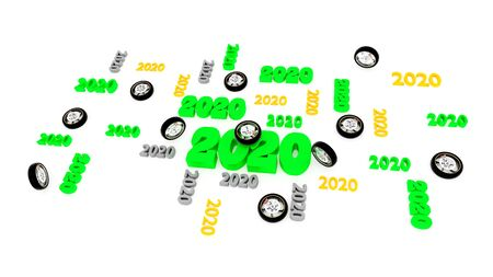 Several Motorbike Wheel 2020 Designs with Some Wheels on a White Background Banco de Imagens