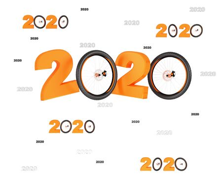 Many Bicycle Wheel 2020 Designs with many Wheels on a White Background