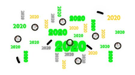 Top View of Several Motorbike Wheel 2020 Designs with Some Wheels on a White Background