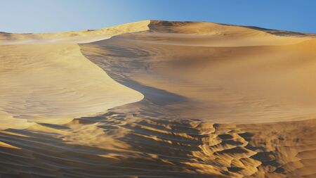 Landscape of Virtual Desert Dunes with a blue sky and a morning light Banco de Imagens - 132075383