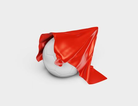 A Red Fabric piece starting to take One Handball out with a White background Stock fotó