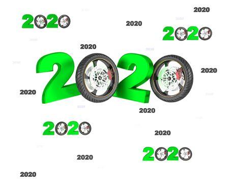 Many Moto Wheel 2020 Designs with many Wheels on a White Background Zdjęcie Seryjne