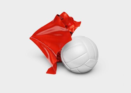 A Red Fabric piece finishing to take One Volleyball out with a White background Stock fotó