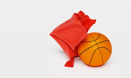 A Red Fabric piece finishing to take One Basketball out with a White background