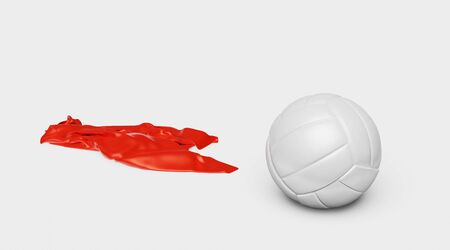 One Volleyball with a Red Fabric piece to the Left with a White background