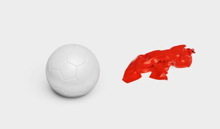 One Handball with a Red Fabric piece to the Right with a White background