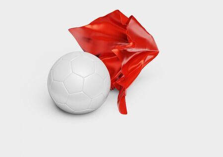 A Red Fabric piece finishing to take One Handball out with a White background Stock fotó