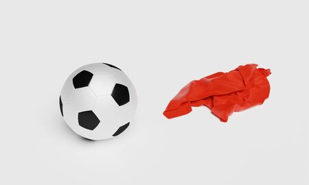Football with a Red Fabric piece to the right with a white background