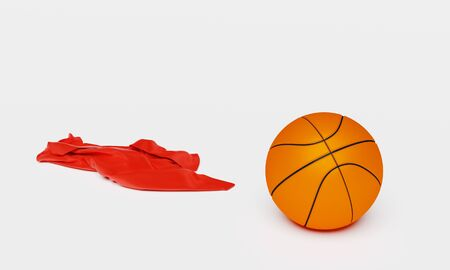 One Basketball with a Red Fabric piece to the Left with a White background