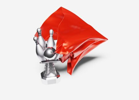 A Red shiny Fabric piece taking One Bowling Silver Trophy out with a White background