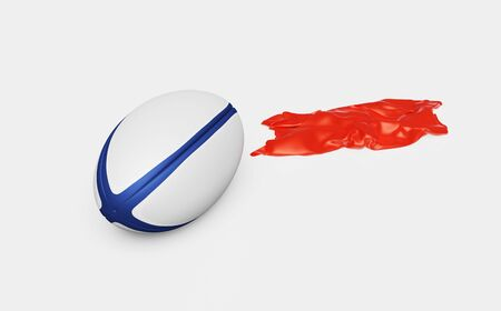 One Rugby ball with a Red shiny Fabric piece to the Right with a White background