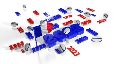 Many 2023 designs with French flag in the wind and some balls on a white background