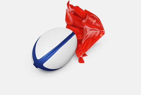 A Red siny Fabric piece finishing to take One Rugby ball out with a White background Stock fotó
