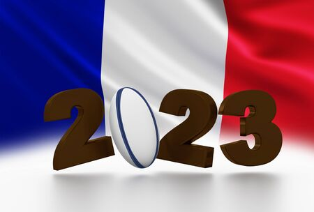 Rugby ball 2023 design with large French Flag in background