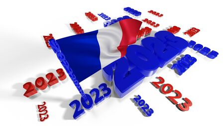 Lots of 2023 designs with French flag in the wind on a white background Stock fotó