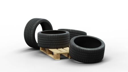 Four Large Sport Tire in a jumble on a wood pallet with a white background