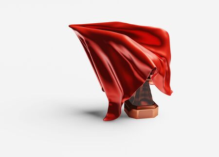 A Red shiny Fabric piece starting to take One Bronze Trophy out with a White background Stock fotó