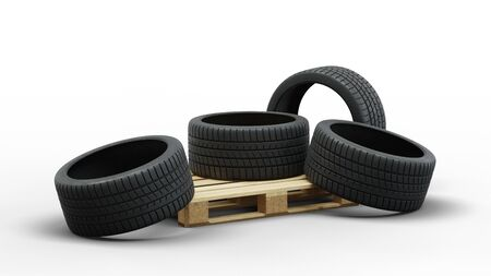 Wood pallet with Four Large Sport Tire in a jumble on a white background