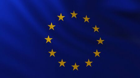 Large European Flag background in the wind