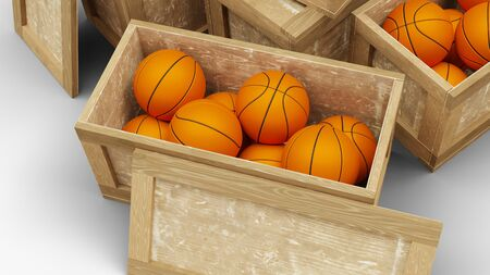 Top view of Five Wood Transport Box with Two opened which full of basketball balls with a white background Foto de archivo