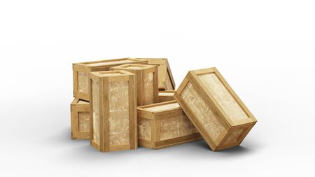 Eight closed wood transport box put in disorder on the floor with a white background