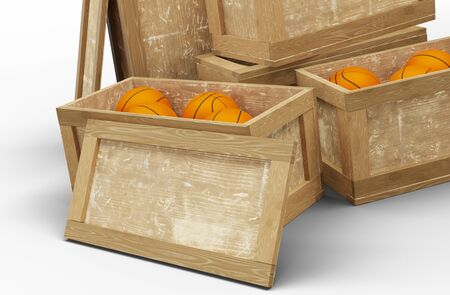 View of Five Wood Transport Box where Two opened and full of basketball balls with a white background