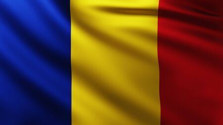 Large Romanian Flag background in the wind with wave patterns Banco de Imagens