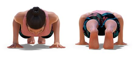 Front and Back Poses of a Woman in Yoga Low Plank Pose with a white background