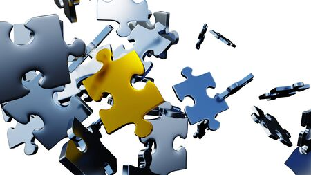 Many silver puzzle pieces in chaos with one large Golden piece in the middle with a white background