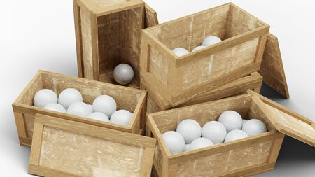 Close-up of Four Wood Transport Box full of Handball balls with a white background