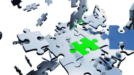 Large Green piece of puzzle almost inserted between lots of Silver Puzzle Pieces in a mess with a white background
