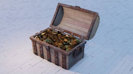 Old wood with rusty metal Chest Opened and full of Gold Coins put on a white wood floor