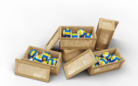 Five Wood Transport Box where Three opened and full of Beach Volleyball balls with a white background