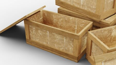 Close-up view of Four Wood Transport Box with Two opened on a white background Foto de archivo