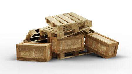 Some wood pallets and transport box messy piled up with a white background